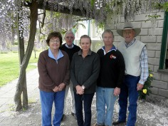 Barb and Bill (left and right, respectively) visit with Malcolm McDonald and Anna and Mark Gubbins of Coolana Stud in Victoria, Australia. Mark is a past president of the Australian Angus Society.