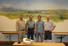 Bill Cornell, Bill Rishel, Nick Moyle and David Plante meet at the West Central Research Station in North Platte after a stop at Rishel Angus